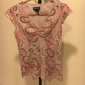 Style & Co. Cream and pink top